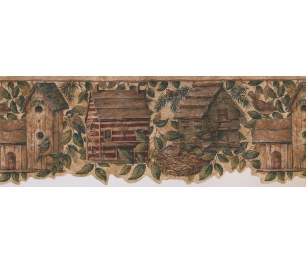 Bird Houses Wallpaper Borders: Birds House Wallpaper Border 7143 BSB