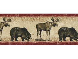 Prepasted Wallpaper Borders - Bears And Dears Wall Paper Border BW77446