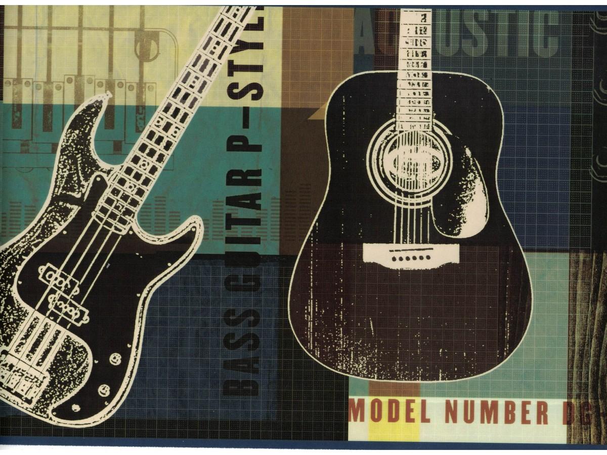 Novelty wallpaper borders guitar wallpaper border byr9 - Guitar border wallpaper ...