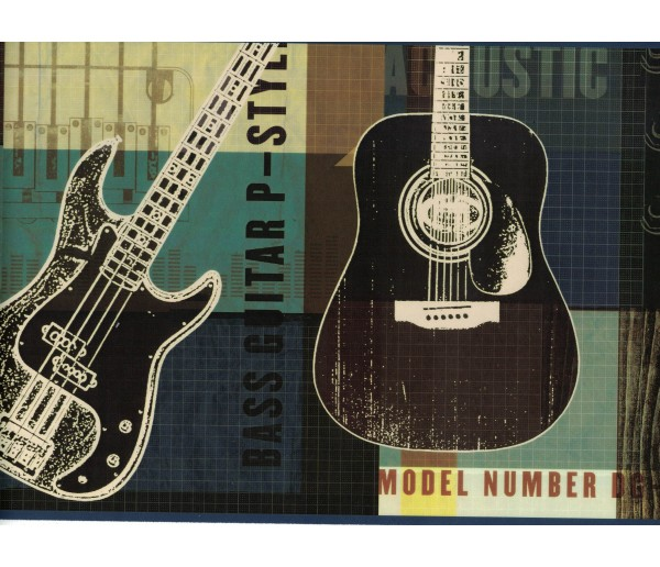 Novelty Borders Guitar Wallpaper Border BYR94282B Shelbourne Wallcoverings