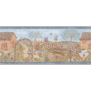 6 7/8 in x 15 ft Prepasted Wallpaper Borders - Birds House Wall Paper Border B57495