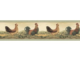 Prepasted Wallpaper Borders - Roosters Wall Paper Border 250B69223