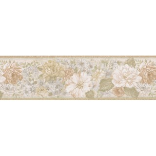 6 7/8 in x 15 ft Prepasted Wallpaper Borders - Floral Wall Paper Border 62B03918