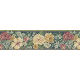 6 7/8 in x 15 ft Prepasted Wallpaper Borders - Floral Wall Paper Border 62B03933