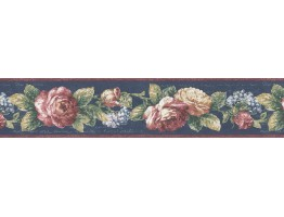 Prepasted Wallpaper Borders - Floral Wall Paper Border 7245-811B