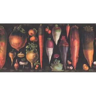12 in x 15 ft Prepasted Wallpaper Borders - Vegetables Wall Paper Border 3049 CB