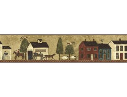 Prepasted Wallpaper Borders - Ellen Stouffer Country Wall Paper Border CL45005B