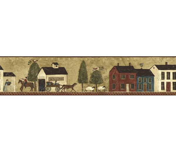 Country Wallpaper Borders: Ellen Stouffer Country Wallpaper Border CL45005B