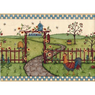 8 1/4 in x 15 ft Prepasted Wallpaper Borders - Garden Wall Paper Border CL45080