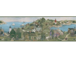 8 1/4 in x 15 ft Prepasted Wallpaper Borders - Linda Nelson Stocks Lighthouse Wall Paper Border CL45063B
