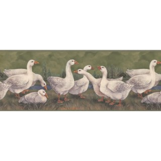 9 in x 15 ft Prepasted Wallpaper Borders - Ducks Wall Paper Border 3352 CUP