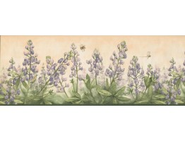 9 in x 15 ft Prepasted Wallpaper Borders - Floral Wall Paper Border 3804 DB