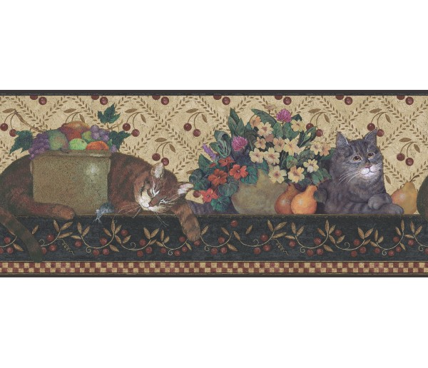 Cats Wallpaper Borders: Ellen Stouffer Wallpaper Border DC5002B