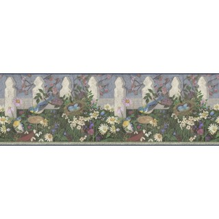 8 in x 15 ft Prepasted Wallpaper Borders - Garden Wall Paper Border DC5006B