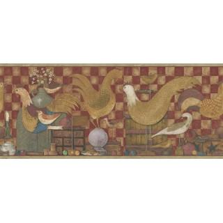 9 in x 15 ft Prepasted Wallpaper Borders - Ellen Stouffer Birds Wall Paper Border DC5010B