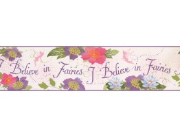 6 in x 15 ft Prepasted Wallpaper Borders - I Believe in Fairies Wall Paper Border 5900 DK