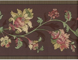 8 in x 15 ft Prepasted Wallpaper Borders - Flower Wall Paper Border FDB01087