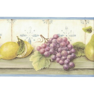 6 3/4 in x 15 ft Prepasted Wallpaper Borders - Fruits Wall Paper Border FDB05816