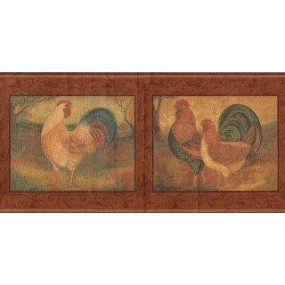 9 in x 15 ft Prepasted Wallpaper Borders - Roosters Wall Paper Border FDB06852