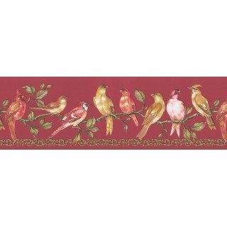 6 3/4 in x 15 ft Prepasted Wallpaper Borders - Birds Wall Paper Border FDB06912