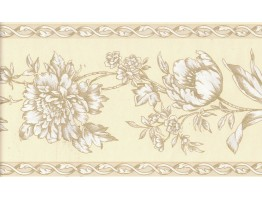 6 3/8 in x 15 ft Prepasted Wallpaper Borders - Flower Wall Paper Border FDB06944