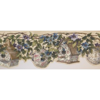 9 in x 15 ft Prepasted Wallpaper Borders - Floral Wall Paper Border 10005 FFM