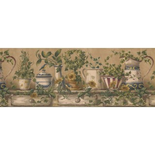 9 in x 15 ft Prepasted Wallpaper Borders - Kitchen Wall Paper Border 10153 FFM