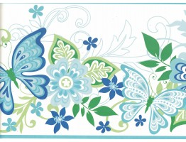 Prepasted Wallpaper Borders - Butterfly Wall Paper Border GIR94072