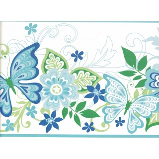8 in x 15 ft Prepasted Wallpaper Borders - Butterfly Wall Paper Border GIR94072