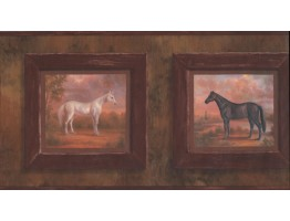 Prepasted Wallpaper Borders - Horses Wall Paper Border 9299 HG