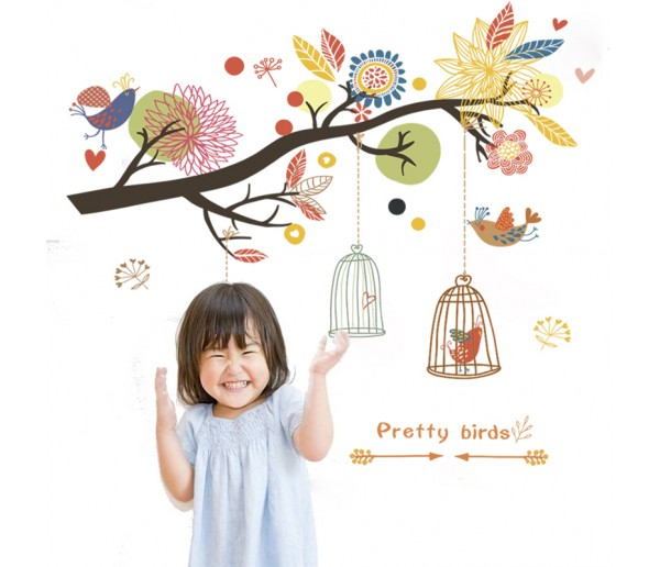 Wall Decals: Tree Branch and Birds Wall Decals HM0819