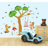 Wall Decals: Tree and Animals Wall Decals HM1236