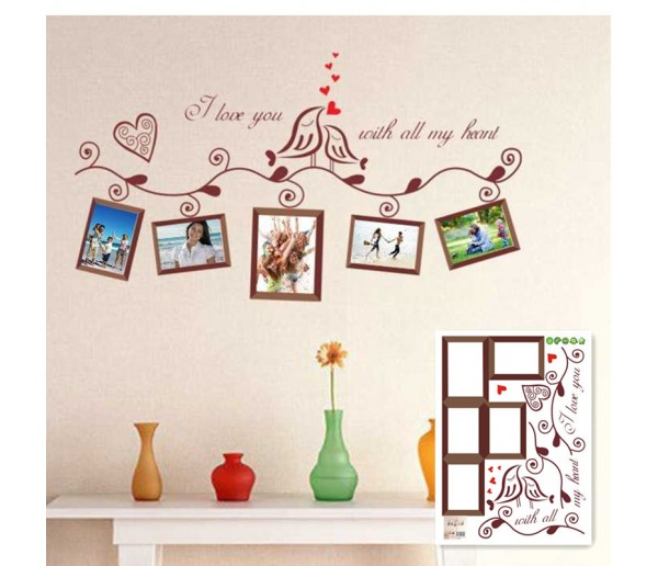 Wall Decals: Love Birds with Photo Frame Wall Decals HM1640