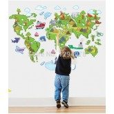Wall Decals: World Map Wall Decals HM1ABC1001