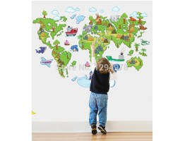 World Map Wall Decals HM1ABC1001