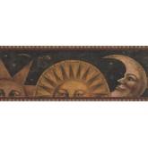 Prepasted Wallpaper Borders - Sun Moon Star Wall Paper Border 3071 HS