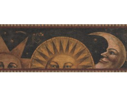 Prepasted Wallpaper Borders - Sun Moon Star Wall Paper Border 3071 HS
