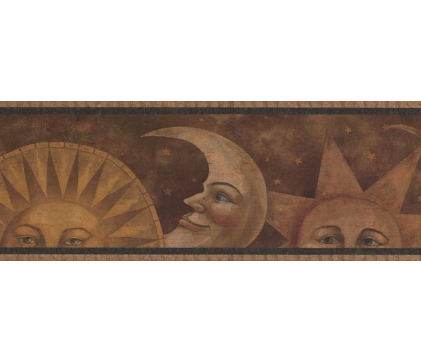 Prepasted Wallpaper Borders - Sun Moon Star Wall Paper Border 3074 HS
