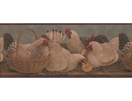 Prepasted Wallpaper Borders - Roosters Wall Paper Border 3082 HS
