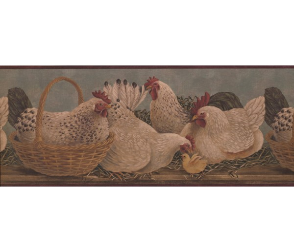 Roosters Roosters Wallpaper Border 3082 HS York Wallcoverings