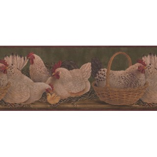 10 in x 15 ft Prepasted Wallpaper Borders - Roosters Wall Paper Border 3083 HS
