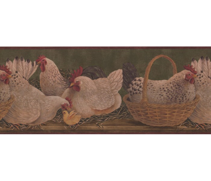 Roosters Wallpaper Borders: Roosters Wallpaper Border 3083 HS