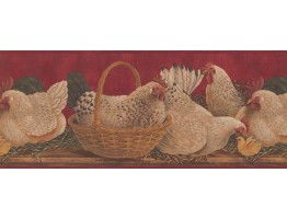 Prepasted Wallpaper Borders - Roosters Wall Paper Border 3084 HS