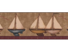 9 1/2 in x 15 ft Prepasted Wallpaper Borders - Ships Wall Paper Border 3122 HS