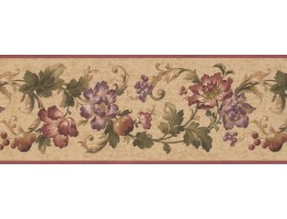 9 in x 15 ft Prepasted Wallpaper Borders - Floral Wall Paper Border 6061 HV