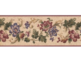 9 in x 15 ft Prepasted Wallpaper Borders - Floral Wall Paper Border 6062 HV
