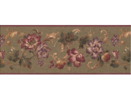 9 in x 15 ft Prepasted Wallpaper Borders - Floral Wall Paper Border 6063 HV
