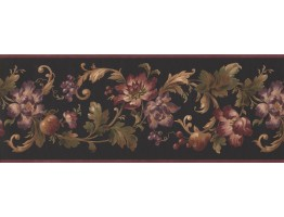 9 in x 15 ft Prepasted Wallpaper Borders - Floral Wall Paper Border 6064 HV
