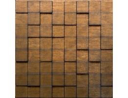 Wall Panel Harmony Cubes - Decorative Thermoplastic Tile 24x24 - Gold Thread