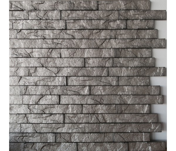 Wall Panels: Wall Panel Ledge Stone - Decorative Thermoplastic Tile 24x24 - Sparkled Grey